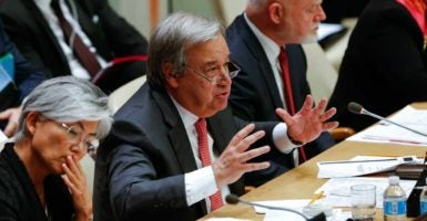 United Nations secretary-general designate Antonio Guterres talks during a meeting of the U.N. General Assembly at the U.N. headquarters on Oct. 19 in New York. (Xinhau/Li Muz/Newscom)