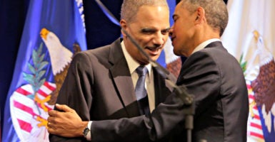 A national effort by Democrats to redraw legislative districts will be boosted by President Barack Obama  and former Attorney General Eric Holder, here at  the unveiling of Holder's portrait at the Justice Department in February 2015. (Photo: Chris Kleponis/ CNP/Newscom)