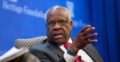 """You simply try to live up to the oath you took to show fidelity to the Constitution,"" Supreme Court Justice Clarence Thomas says in a ""conversation"" Wednesday evening at The Heritage Foundation. (Photo: Willis Bretz for The Daily Signal)"