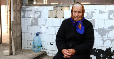 """Alexandra, 83, fled her home in Marinka when the shelling became """"too scary."""" (Photo: Nolan Peterson/The Daily Signal)"""