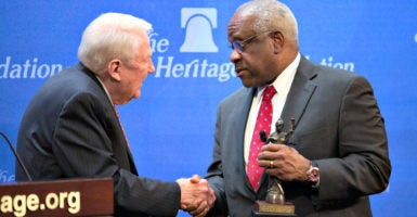 Supreme Court Justice Clarence Thomas accepts The Heritage Foundation's Defender of the Constitution Award on Oct. 26 from Heritage scholar and former Attorney General Edwin Meese III. (Photo: Willis Bretz for The Daily Signal)