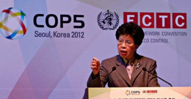 News media ought to have access to the World Health Organization's  anti-smoking conference this week in New Delhi, taxpayer groups demand. Above, Dr. Margaret Chan, WHO's director-general, helps open the same conference in Seoul on Nov. 11, 2012. (Photo: Yonhap News Agency/Newscom)