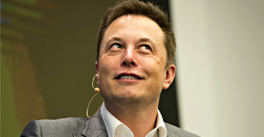 Elon Musk, chairman of SolarCity and CEO of Tesla Motors, speaks Oct. 2, 2015, at SolarCity's Inside Energy Summit in  New York. Among SolarCity, Tesla, and SpaceX, Elon Musk's interests got at least $4.9 billion in taxpayer subsidies over the past 10 years. (Photo: Rashid Umar Abbasi/Reuters/Newscom)