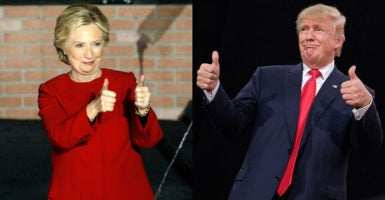 Democrat Hillary Clinton and Republican Donald Trump are optimistic as voters cast their ballots on Election Day. (Photos: Clinton—Kevin Lamarque /Reuters/Newscom; Trump—Jonathan Alpeyrie/SIPA /Newscom)