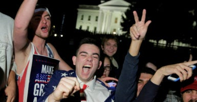 Donald Trump supporters celebrate in front of the White House election night, in anticipation of the Republican presidential nominee's victory. (Photo: Joshua Roberts/Reuters /Newscom)