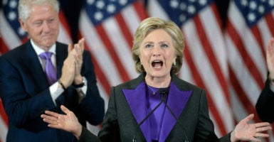 Hillary Clinton formally concedes the presidential election to Donald Trump in remarks Nov. 9 to supporters in New York.  (Photo: CNP/Polaris/Newscom)