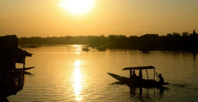 Shikaras on Dal Lake at sunset. (Photo: Nolan Peterson/The Daily Signal)
