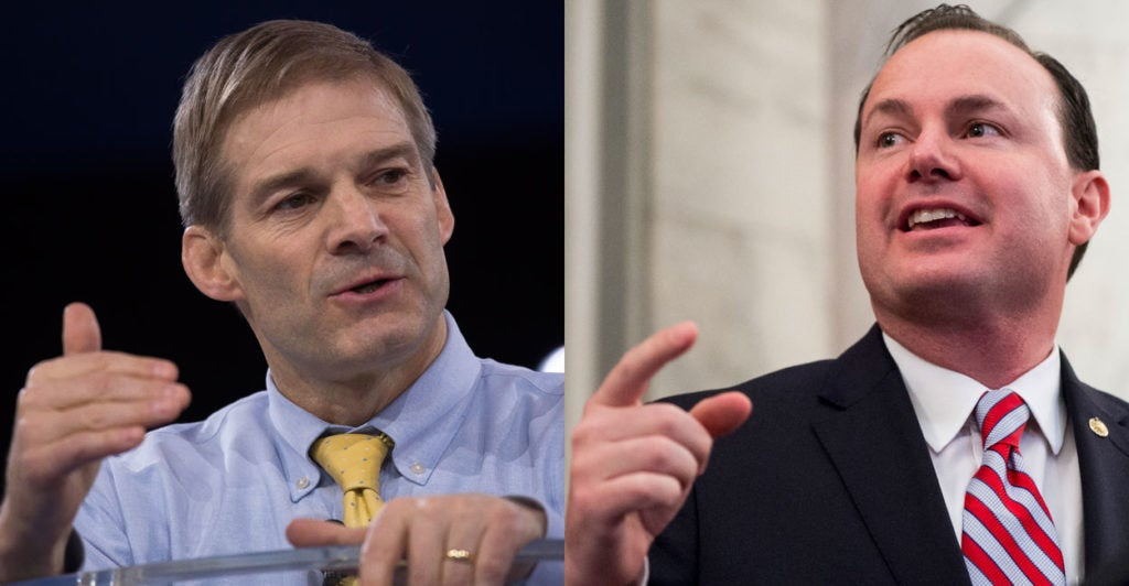 Rep. Jim Jordan, R-Ohio, and Sen. Mike Lee, R-Utah, spoke out against a GOP proposal to bring back earmarks. (Photos: Jordan—Jeff Malet/Newscom; Lee—Bill Clark/CQ Roll Call/Newscom)