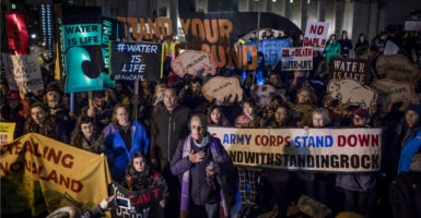 A mix of 2,000-plus indigenous and nonindigenous water protectors rally in Foley Square, a park across the street from the Army Corps of Engineers who temporarily halted the Dakota Access pipeline's construction, Nov. 16, 2016, New York City. (Photo: Pacific Press/Sipa USA /Newscom)
