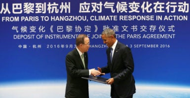 U.S. President Barack Obama shakes hands with U.N. Secretary-General Ban Ki-moon during a joint ratification of the Paris climate change agreement ceremony ahead of the G20 summit in Hangzhou, China, Sept. 3, 2016. (Photo: Pool /Reuters/Newscom)