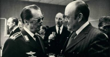 On the right, Secretary of Defense Melvin Laird, at a NATO meeting in 1971 in Belgium. (Photo: Keystone Pictures USA/ZUMAPRESS/Newscom)