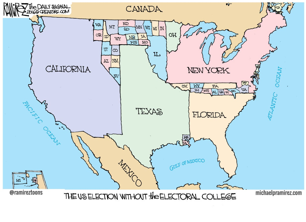 Cartoon Big States Will Love Popular Vote - Cartoon map of the us