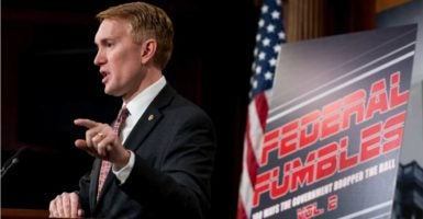 "Sen. James Lankford, R-Okla., holds a press conference on his annual ""Federal Fumbles"" waste report on federal spending.(Photo: Clark/CQ Roll Call)"