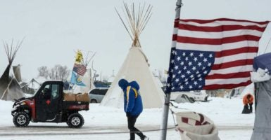 "On April 1, tribal citizens founded the ""Sacred Stone Camp"" near the construction site to protest the Dakota Access pipeline. (Photo: Stephanie Keith /Reuters/Newscom)"