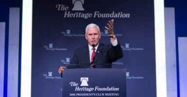 Vice President-elect Mike Pence spoke Tuesday night at The Heritage Foundation's President's Club Meeting, held at the Trump International Hotel in Washington, D.C. (Photo: Willis Bretz for The Daily Signal)