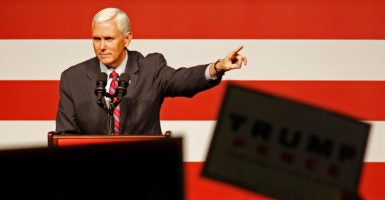 """""""I told my former colleagues to buckle up, vacation is over,"""" Vice President-elect Mike Pence, a former Indiana congressman, said at a Heritage Foundation event Tuesday. (Photo: Max Becherer/Polaris/Newscom)"""