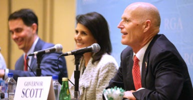 Governors such as, from left, Scott Walker of Wisconsin, Nikki Haley of South Carolina, and Rick Scott of Florida, as well as state insurance commissioners, can help shape a new health care plan while regulating  their own insurance markets. (Photo: Joe Burbank/TNS/Newscom)