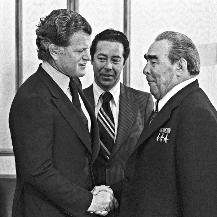 "Sen. Edward ""Ted"" Kennedy, D-Mass., greets Soviet leader Leonid Brezhnev in 1980. (Photo: Vladimir Musaelyan /TASS/Newscom)"
