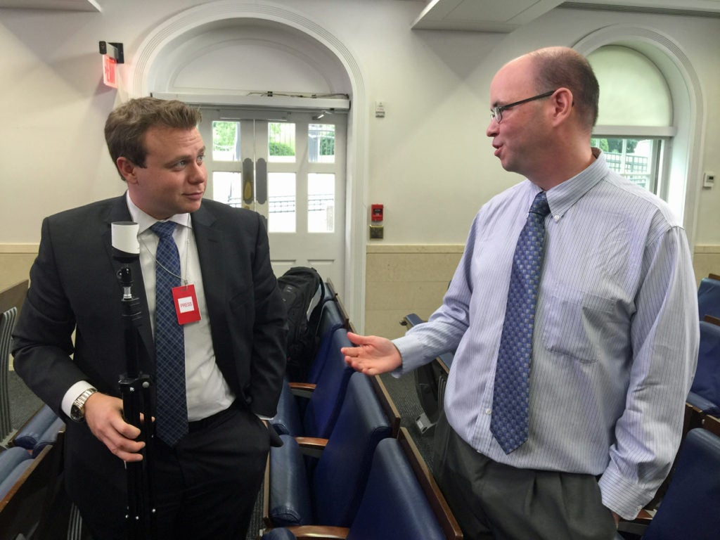 The Daily Signal's Fred Lucas (right) and Michael Goodin at the White House. (Photo: Rob Bluey/The Daily Signal)