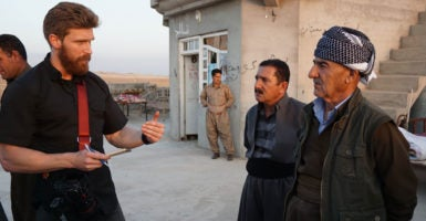 The author with the Kurdish peshmerga in Iraq. (Photo: Nolan Peterson/The Daily Signal)