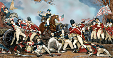 An oil painting by American artist John Trumbull depicts the fatal wounding by bayonet of Brig. Gen. Hugh Mercer, center, at the Battle of Princeton on Jan. 3, 1777. It conflates events by showing Gen. George Washington—on a brown horse rather than the white one he rode—arrive to rally the American troops to victory before he actually did. (Photo: Newscom)
