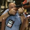 Tony Bruno tests out a sample at the Las Vegas SHOT show last week. (Photo: Courtesy Michael Bazinet/SHOT Show)