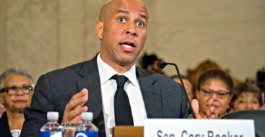 Sen. Cory Booker, D-N.J., testifies before the Senate Judiciary Committee in opposition to the confirmation of Sen. Jeff Sessions, R-Ala., as attorney general of the United States. (Photo: Ron Sachs/CNP /Newscom)