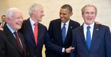 President Barack Obama, second from the right, laughs with former Presidents Jimmy Carter, Bill Clinton, and George W. Bush prior to the dedication of the George W. Bush Presidential Library. (Photo: Pete Souza /ZUMA Press/Newscom)
