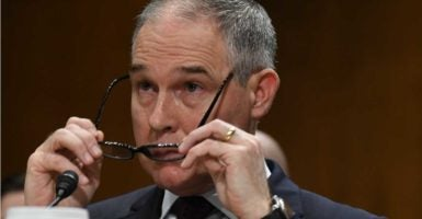 Oklahoma Attorney General Scott Pruitt, President-elect Donald Trump's selection to be the administrator of the Environmental Protection Agency, testifies Wednesday at a confirmation hearing. (Photo: Mark Reinstein/ZUMA Press/Newscom)