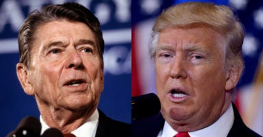 Former House Speaker Newt Gingrich says President-elect Donald Trump poses a greater threat to the left than Ronald Reagan did as president in 1981. (Photos: Reagan—Arthur Grace/ZUMAPRESS/Newscom; Trump—Dennis Van Tine/LFI/Avalon/Newscom)