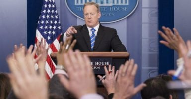 White House press secretary Sean Spicer takes questions from reporters Tuesday at the daily press briefing. (Photo: Kevin Dietsch/UPI/Newscom)