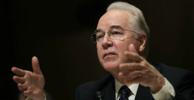 Rep. Tom Price, R-Ga., testifies before the Senate Finance Committee during his confirmation hearing to be secretary of health and human services, Jan. 24, 2017. (Photo: Carlos Barria/Reuters /Newscom)