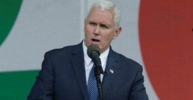 """""""Along with you, we will not grow weary, we will not rest until we restore a culture of life in America for ourselves and our posterity,"""" Vice President Mike Pence said. (Photo: Yuri Gripas/Reuters/Newscom)"""