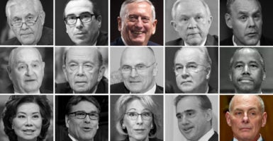 Of President Donald Trump's 15 Cabinet nominees, only two (in color) have won Senate confirmation. Trump's picks include (from top left): Rex Tillerson (Photo: Ron Sachs/ZUMA Press/Newscom); Steven Mnuchin (Photo: Ron Sachs/ZUMA Press/Newscom); James Mattis (Photo: Kevin Dietsch/UPI/Newscom); Jeff Sessions (Photo: Ron Sachs/ZUMA Press/Newscom); Ryan Zinke (Photo: Carlos Barria/Reuters/Newscom); Sonny Perdue (Photo: Albin Lohr-Jones/ZUMA Press/Newscom); Wilbur Ross (Photo: Mike Theiler/UPI/Newscom); Andrew Puder (Photo: Ron Sachs/CNP/Newscom); Tom Price (Photo: Ron Sachs/DPA/Newscom); Ben Carson (Photo: Kevin Lamarque/Reuters/Newscom); Elaine Chao (Photo: Ron Sachs/ZUMA Press/Newscom); Rick Perry (Photo: Mark Reinstein/ZUMA Press/Newscom); Betsy DeVos (Photo: Ron Sachs/DPA/Newscom); David Sulking (Photo: Veterans Health Administration/Flickr); John Kelly (Photo: Ron Sachs/CNP/Newscom)