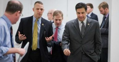 From left, Republican Reps. Scott Perry, Jim Jordan, and Raul Labrador spoke about Obamacare repeal at a monthly press Q&A session. (Photo: Tom Williams/CQ Roll Call/Newscom)