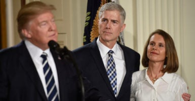 Judge Neil Gorsuch, with wife Marie Louise, is introduced by President Donald Trump as his nominee to the Supreme Court. (Photo: Riccardo Savi/Sipa USA/Newscom)