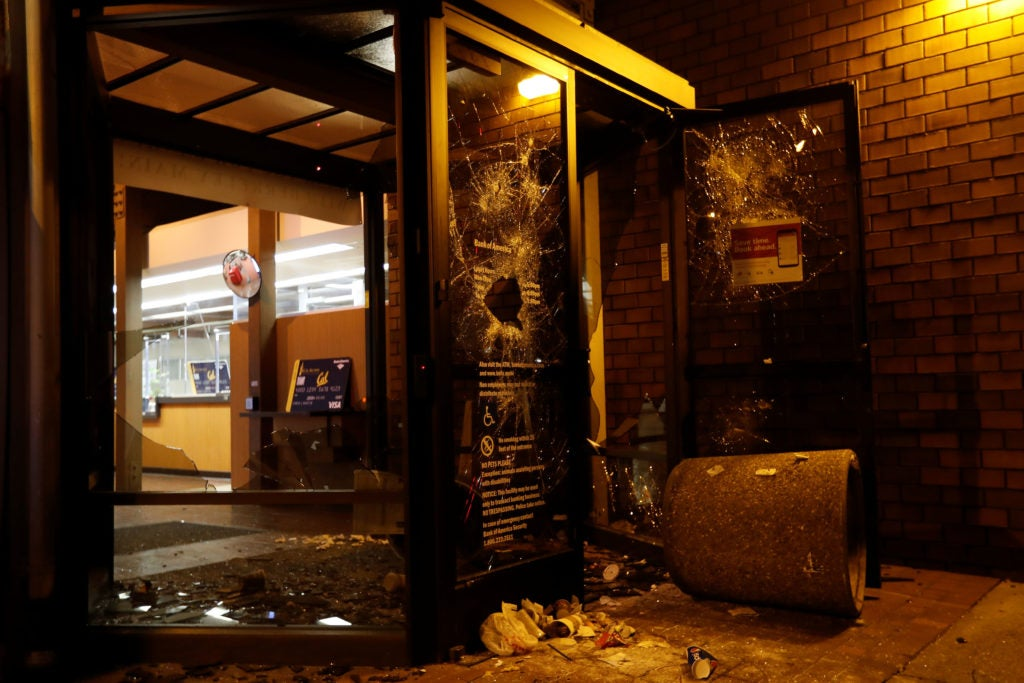 A vandalized Bank of America office is seen after a protest turned violent at UC Berkeley during a demonstration over Yiannopoulos in Berkeley, California. (Photo: Stephen Lam/Reuters/Newscom)