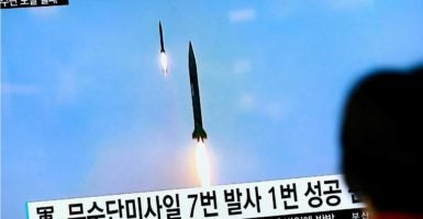 Preliminary reports indicate North Korea's missile flew approximately 300 miles. (Photo: Jeon Heon-Kyun/EPA/Newscom)