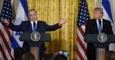 President Donald Trump and Israeli Prime Minister Benjamin Netanyahu hold a joint press conference at the White House where they talked about settlements and the Middle East peace process, among other matters. (Photo: Riccardo Savi/Sipa USA/Newscom)