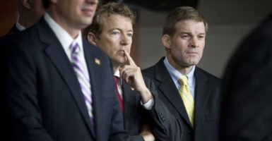 Sen. Rand Paul, R-Ky., left, and Rep. Jim Jordan, R-Ohio, right, were among the conservative lawmakers who spoke out in favor of a new Obamacare replacement plan. Authored by Paul, the legislation was introduced in the House and Senate. (Photo: Louie Palu/ZUMAPRESS/Newscom)