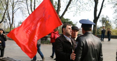 In Ukraine, it is now illegal to fly the Soviet flag. (Photo: Nolan Peterson/The Daily Signal)