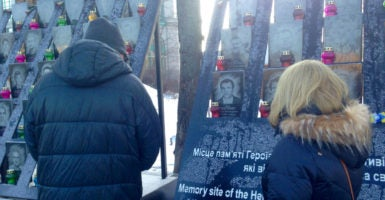 In Kyiv, a memorial to fallen protesters from the 2014 revolution. (Photo: Nolan Peterson/The Daily Signal)