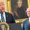 President Donald Trump entrusted Attorney General Jeff Sessions, right during his swearing-in Feb. 9 in the Oval Office, to prepare an order rescinding President Obama's transgender mandate for public schools. (Photo: Jim LoScalzo/Consolidated/DPA/Newscom)