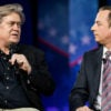 Top White House aides Steve Bannon, left, and  Reince Priebus team up to tout President Trump's promise-keeping agenda Feb. 23 at the Conservative Political Action Conference, or CPAC. (Photo: Jim Lo Scalzo/EPA/Newscom)