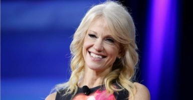 Kellyanne Conway, counselor to President Donald Trump, speaks to the the Conservative Political Action Conference at National Harbor, Maryland. (Photo: Joshua Roberts/Reuters /Newscom)