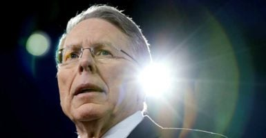 NRA CEO Wayne LaPierre says at CPAC that Americans will stand up to violent protesters if they have to. (Photo: Joshua Roberts /Reuters/Newscom)