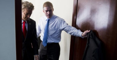 Sen. Rand Paul of Kentucky, left, and Rep. Jim Jordan of Ohio, right, have come together with other key conservatives to oppose any legislation that does not fully repeal Obamacare. (Photo: Bill Clark/CQ Roll Call/Newscom)