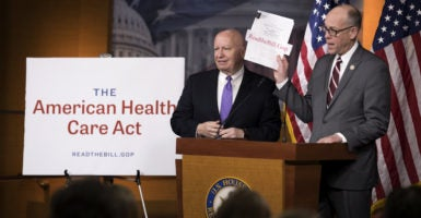 House Ways and Means Committee Chairman Kevin Brady, left, and Energy and Commerce Committee Chairman Greg Walden, right, unveil their Obamacare replacement plan, the American Health Care Act. (Photo: Shawn Thew/EPA /Newscom)