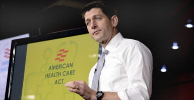 House Speaker Paul Ryan briefs the press on points of the Republican-sponsored American Health Care Act. (Photo: Mike Theiler/UPI/Newscom)