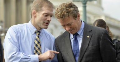Rep. Jim Jordan, R-Ohio, and Sen. Rand Paul, R-Ky., are among conservatives pushing  for Congress to again pass its original Obamacare repeal. (Photo: Mike Theiler/UPI /Newscom)